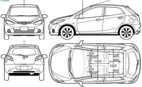 Car Blueprints Mazda 2 Blueprints Vector Drawings