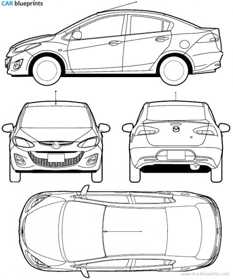 Car blueprints mazda 2 blueprints vector drawings clipart and 2010 mazda 2 sedan blueprint malvernweather Gallery