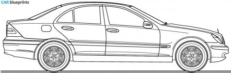 Car blueprints mercedes benz c class w203 c220 k blueprints 2004 mercedes benz c class w203 c220 k sedan blueprint malvernweather Choice Image