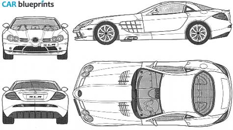 Car blueprints mercedes benz slr mclaren blueprints vector 2003 mercedes benz slr mclaren coupe blueprint malvernweather Choice Image