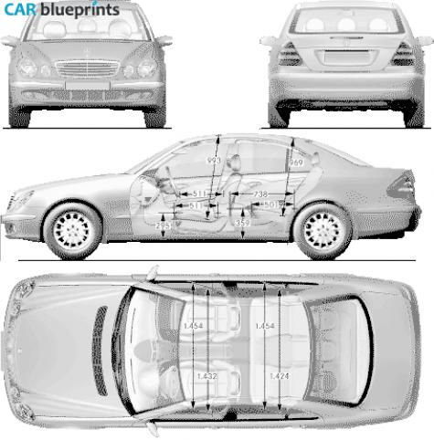 Car blueprints mercedes benz e class w211 blueprints vector 2002 mercedes benz e class w211 sedan blueprint malvernweather Choice Image