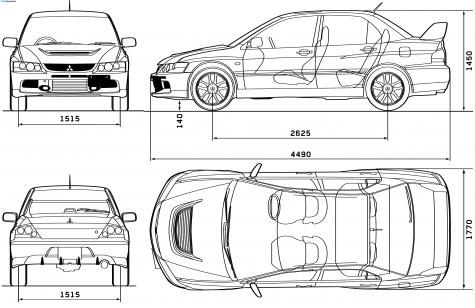 Car Blueprints Mitsubishi Lancer Evo Ix Blueprints Vector