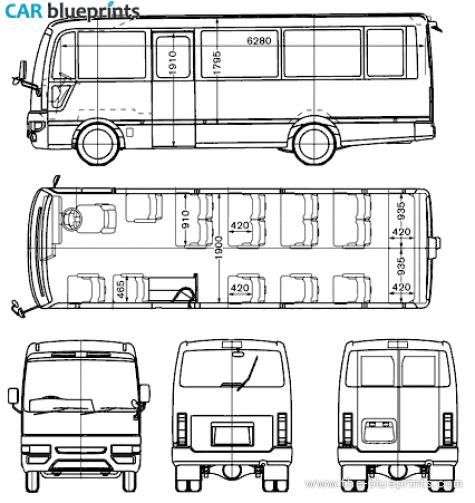 Car Blueprints Nissan Civilian Blueprints Vector
