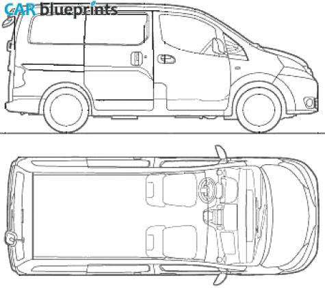 car blueprints nissan nv200 vanette blueprints vector drawings clipart and pdf templates. Black Bedroom Furniture Sets. Home Design Ideas