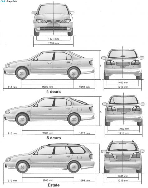 Car Blueprints Nissan Primera Blueprints Vector