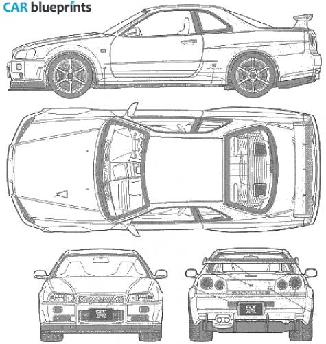 Nissan Skyline GTR V Blueprints, Vector