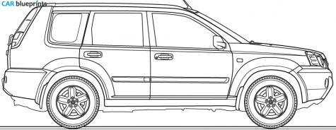 Car Blueprints Nissan X Trail I Blueprints Vector Drawings