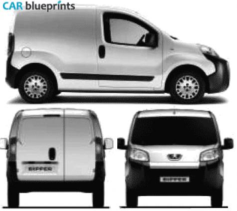 car blueprints peugeot bipper blueprints vector drawings clipart and pdf templates. Black Bedroom Furniture Sets. Home Design Ideas
