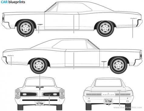 CAR blueprints - Pontiac GTO blueprints, vector drawings, clipart