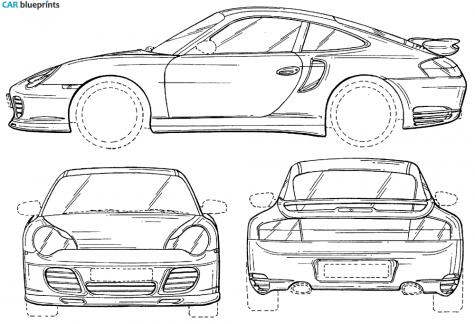 ... Porsche 996 Turbo On Tesla Car Blueprints Model S ...