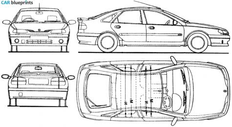 car blueprints renault laguna blueprints vector drawings clipart and pdf templates. Black Bedroom Furniture Sets. Home Design Ideas