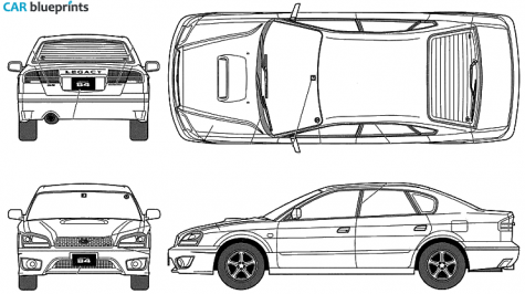 Car blueprints subaru legacy b4 rsk blueprints vector drawings 2003 subaru legacy b4 rsk sedan blueprint malvernweather Image collections