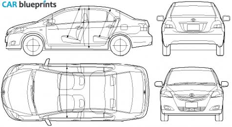 Car blueprints toyota belta blueprints vector drawings clipart 2006 toyota belta sedan blueprint malvernweather Gallery