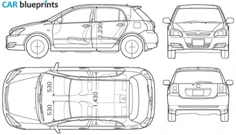 Car blueprints toyota corolla runx blueprints vector drawings 2005 toyota corolla runx hatchback blueprint malvernweather Image collections