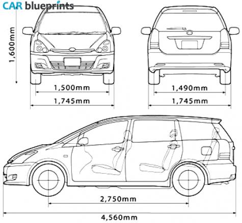 Car blueprints toyota wish blueprints vector drawings clipart 2003 toyota wish minivan blueprint malvernweather Image collections