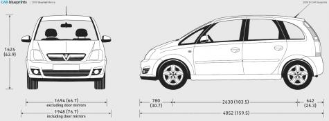 car blueprints vauxhall meriva blueprints vector. Black Bedroom Furniture Sets. Home Design Ideas