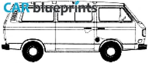 CAR blueprints - Volkswagen Vanagon T3 blueprints, vector drawings