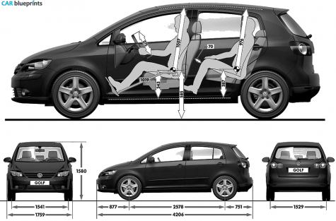 car blueprints volkswagen golf plus blueprints vector. Black Bedroom Furniture Sets. Home Design Ideas