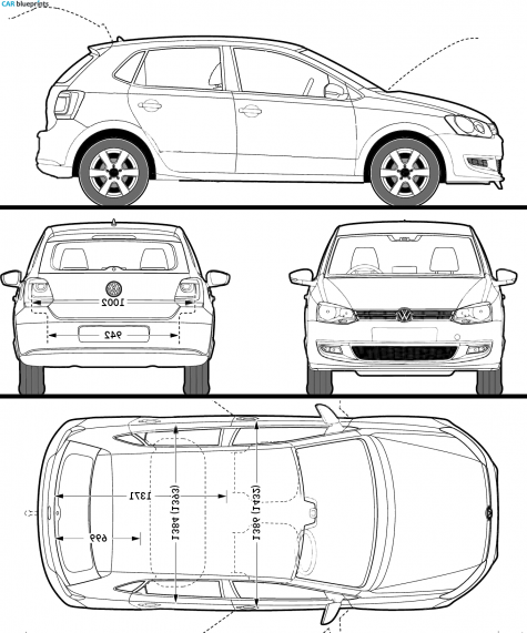 car blueprints volkswagen polo v 6r 5 door blueprints vector drawings clipart and pdf. Black Bedroom Furniture Sets. Home Design Ideas
