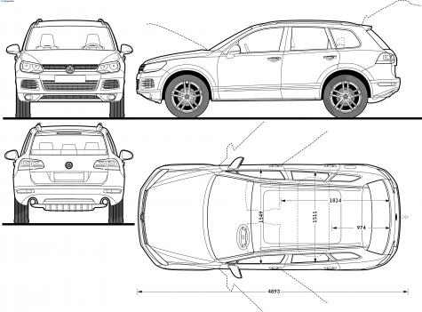 Car Blueprints Volkswagen Tiguan Blueprints Vector Drawings